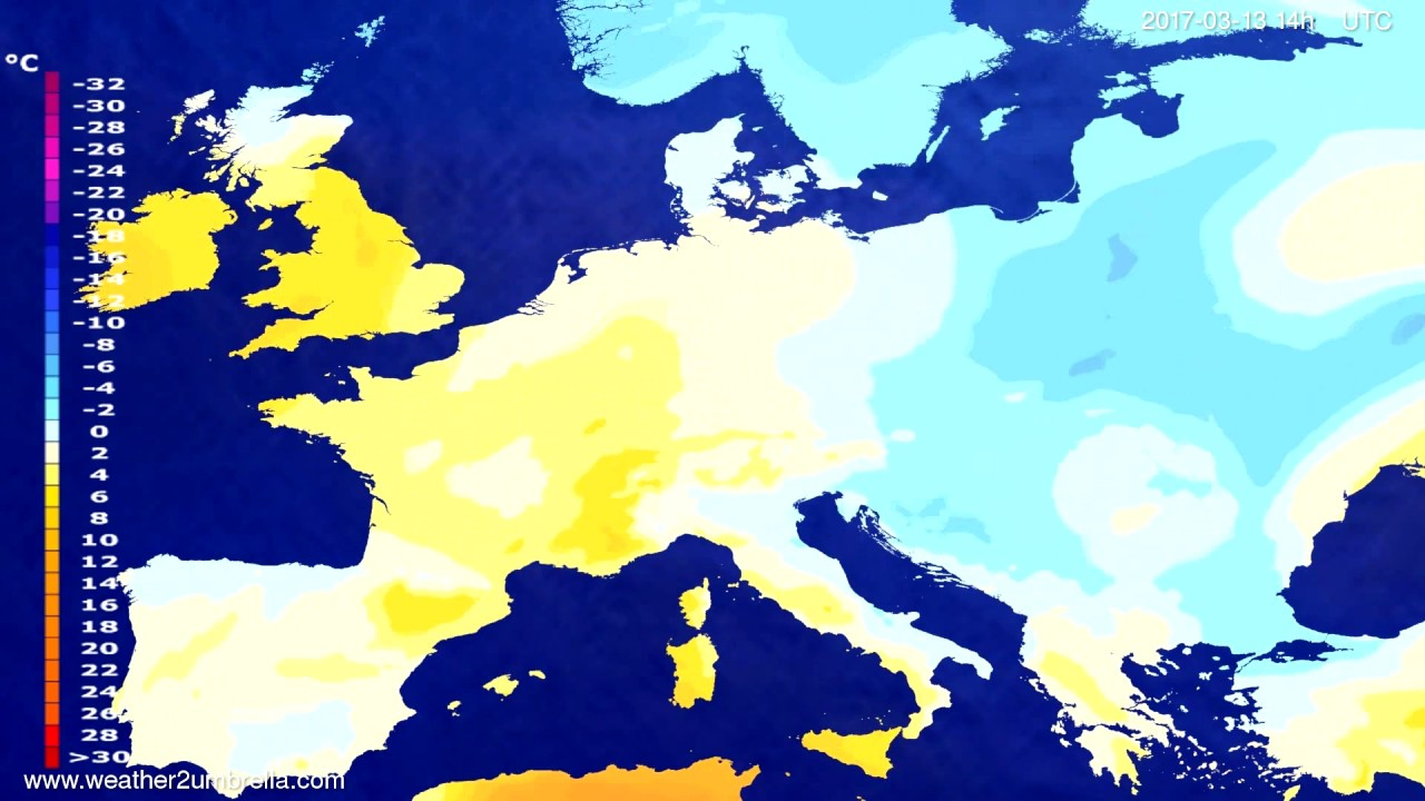 Temperature forecast Europe 2017-03-11