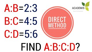 RATIO AND PROPORTION- FIND A:B:C:D- DIRECT METHOD