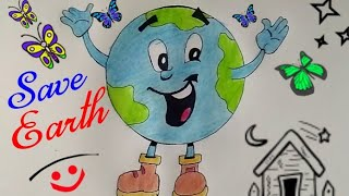 How To Draw SAVE EARTH And SAVE WATER Coloring Cartoon Drawing For Kids || Save Environment Drawing