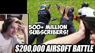 xQc Reacts to $200,000 Youtuber Airsoft Battle Royale by MrBeast