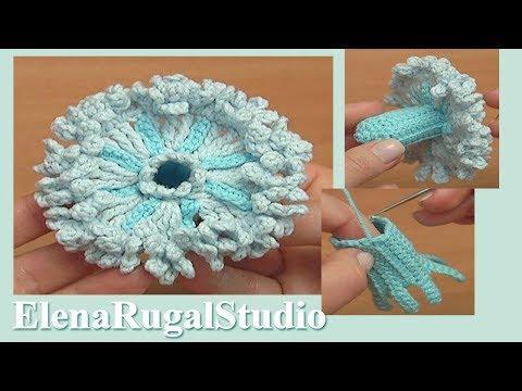 How to Crochet 3D Flower Tutorial 112