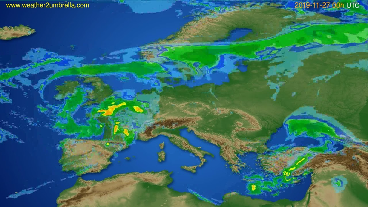 Radar forecast Europe // modelrun: 12h UTC 2019-11-26