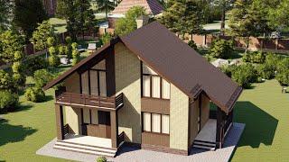 Проект дома 097-D, Площадь дома: 97 м2, Размер дома:  9,8x6,8 м