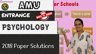 Aligarh Muslim University (AMU) MA Psychology Entrance 2018 Paper Solutions| Important Questions