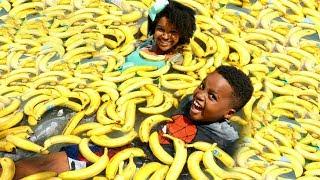 HUGE BANANA POOL CHALLENGE!!! - Shiloh and Shasha - Onyx Kids