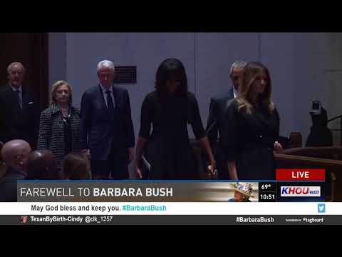 Watch: Bush grandchildren, Clintons, Obamas arrive for funeral of Barbara Bush
