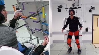 video: Exoskeleton driven by AI helps paralysed man to walk again