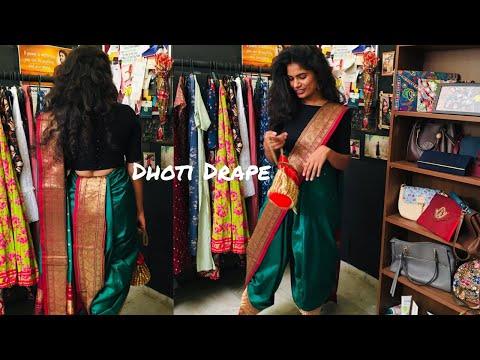 How to Drape a Saree in Dhoti Style | Dhoti Drape | nayalooks | Navya Varma