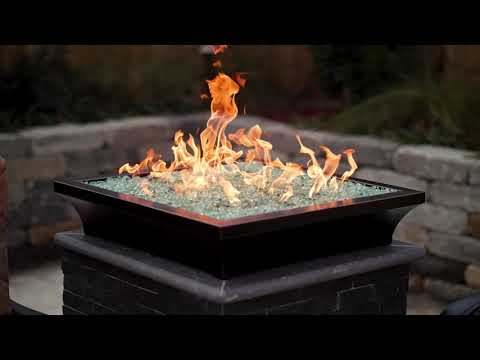 BBQGuys Signature Series Lavelle Square Low-Rise Column Fire Bowl - Oil Rubbed Bronze
