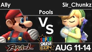 SSC16  - Ally (Mario, Snake) vs Sir_Chunkz (Toon Link, Ike) Pools - Brawl