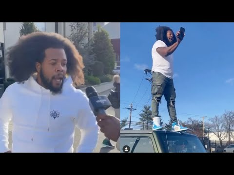 "The Real King Of NY Back"" Rowdy Rebel Almost Breaks Homies Jeep Wildn Out On Hood"