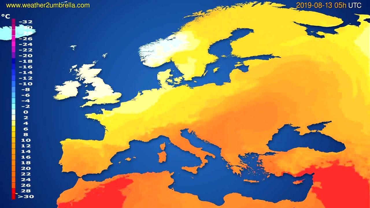 Temperature forecast Europe // modelrun: 00h UTC 2019-08-11