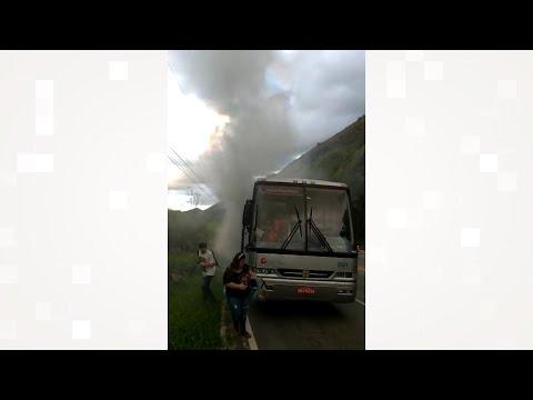 Princípio de incêndio atinge ônibus universitário de Duas Barras