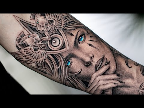 lion crown portrait tattoo time lapse by daniel silva