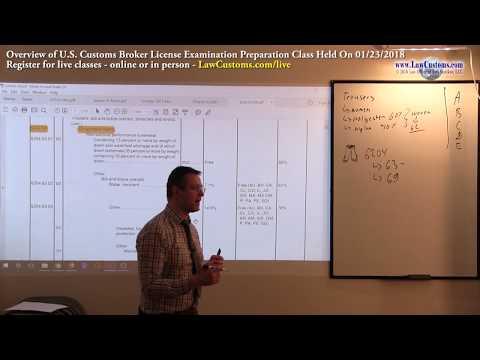 01/23/2018 Customs Broker License Preparation Exam Class ...