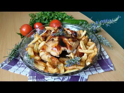 Вкусный УЖИН . Ароматная курочка с медом, имбирем и  картофелем. Delicious dinner