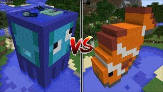 Minecraft SQUID HOUSE VS CLOWNFISH HOUSE MOD / BUILD OCEAN HOUSES !! Minecraft