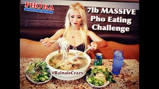 7lb Pho Eating Challenge | Pho Ha #7 in Riverside | RainaisCrazy | Oliver and Pearl's Engagement