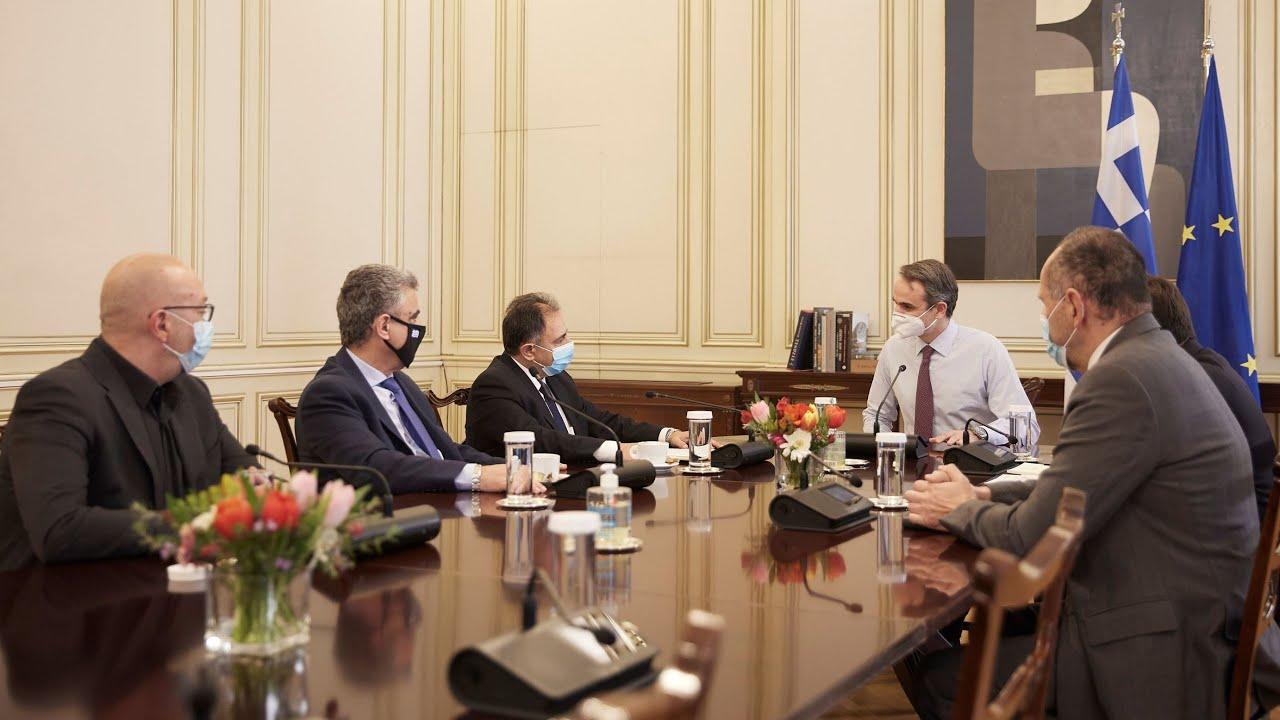 Συνάντηση του Πρωθυπουργού Κυριάκου Μητσοτάκη με τους δημάρχους Μυτιλήνης, Χίου και Ανατολικής Σάμου