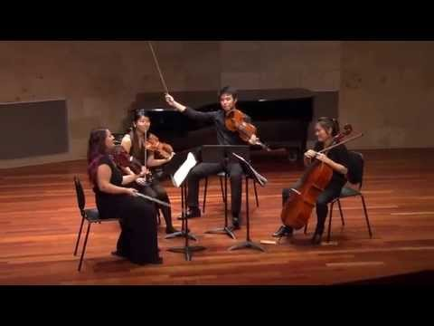 "Performing Antonin Dvorak's String Quartet No. 12 ""American"" with members of the San Francisco Conservatory of Music Chamber Program, 2014."