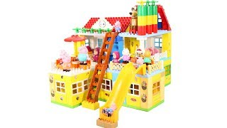 Lego Duplo House Construction Sets - Peppa Pig House With Water Slide Creations Toys For Kids #6