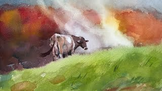Painting #10 - Watercolor Landscape Painting - Animal In Landscape 1