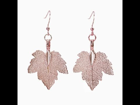 Maple Leaf - Real Leaf Dangle Earrings