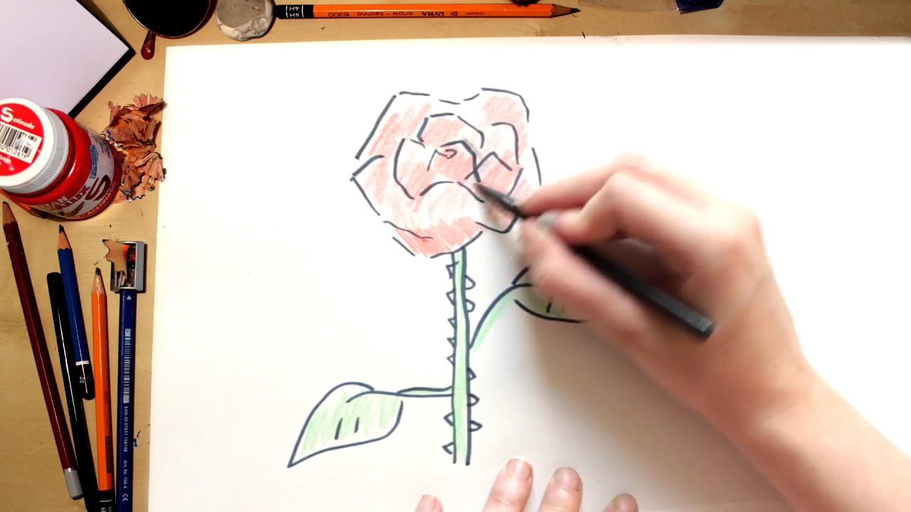 Como dibujar la flor Rosa (comentado)