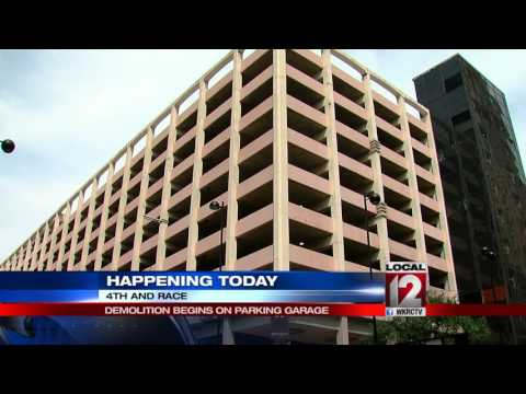 Demolition begins at 4th and Race Street parking garage