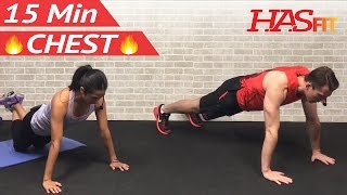 15 Min Chest Workout at Home - Chest Workouts with Dumbbells - Pectoral Exercises for Men & Women by HASfit