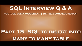 SQL script to insert into many to many table