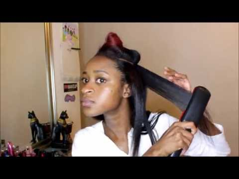 How I Flat Iron My Relaxed Hair Routine 2017