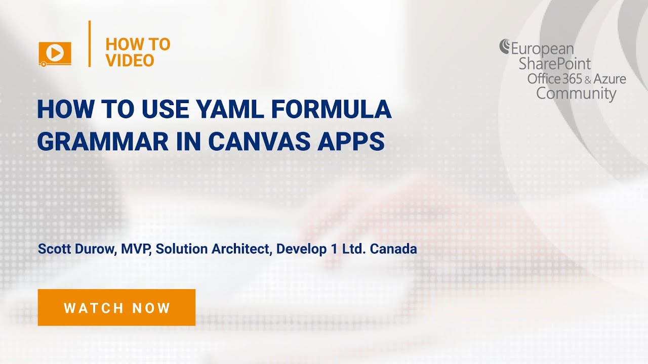 How to use YAML Formula Grammar in Canvas Apps