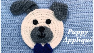 Super Easy Crochet Puppy Dog Appliqué With Bow Tie By Crochet For Baby 210
