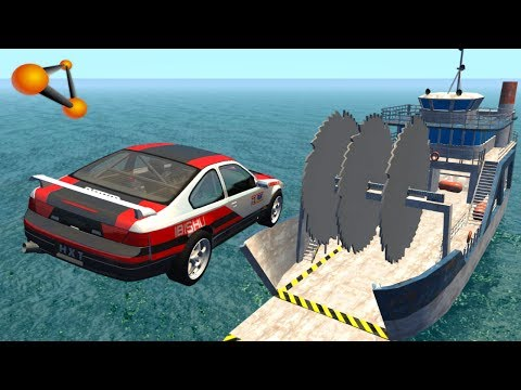 BeamNG.drive - Giant Saw Against Cars Crashes #2