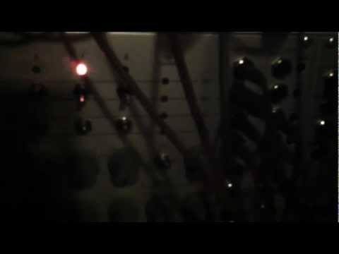 Modular synth patch in the dark