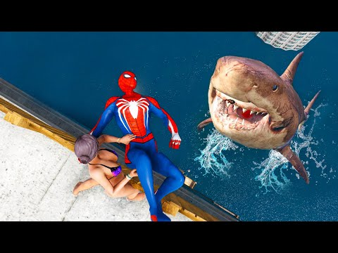 GTA 5 Epic Ragdolls Spiderman VS Megalodon (Funny Moments & Fails)