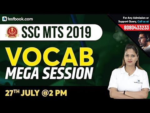 English Vocabulary Mega Session for SSC MTS 2019 | Expected Questions for MTS | Pratibha Ma'am