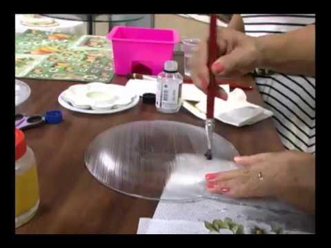 Prato decoupage/craquelê