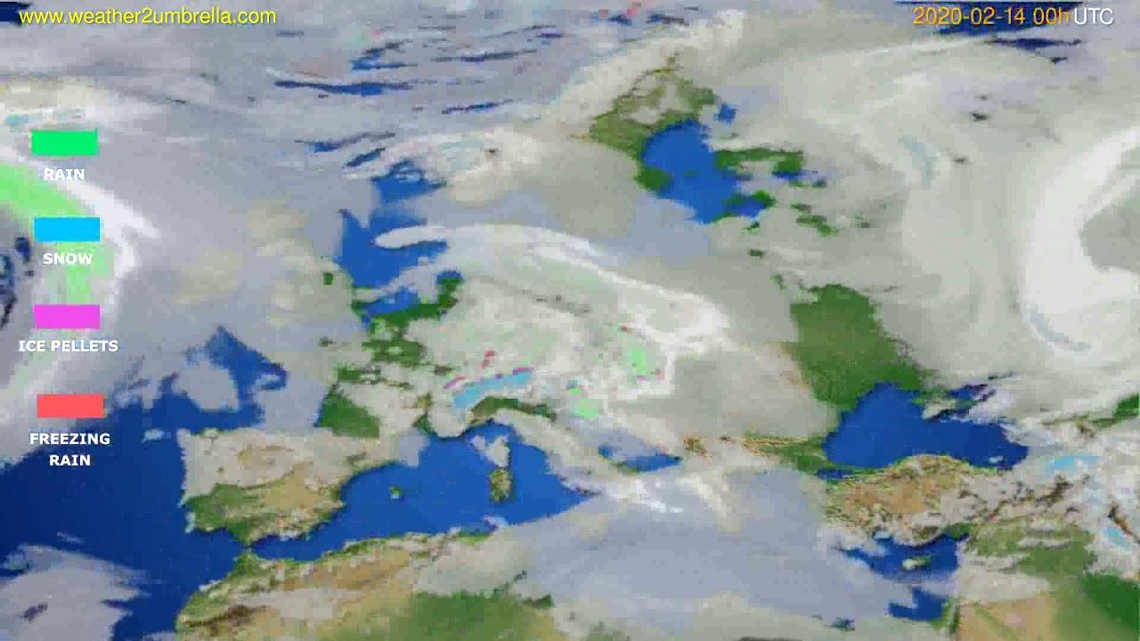 Precipitation forecast Europe // modelrun: 00h UTC 2020-02-13