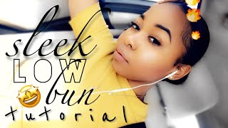 How To: Quick & Easy Sleek Low Bun On Short/Medium Natural Hair | Updated | Kinzey Rae