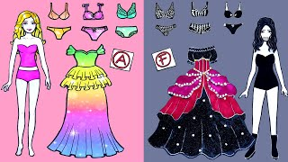 Paper Dolls Dress Up - Cinderella And Witch Dresses Handmade Quiet Book - Barbie Story & Crafts