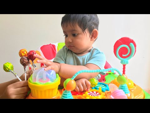 Lollipop unboxing and learn colors with toddler rafan and cute baby manha