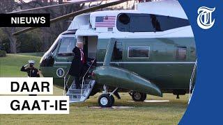 Hier verlaat Trump het Witte Huis