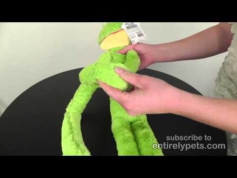 """Multipet Swingin Slevins Plush Dog Toy 30"""" - Frog Video"""
