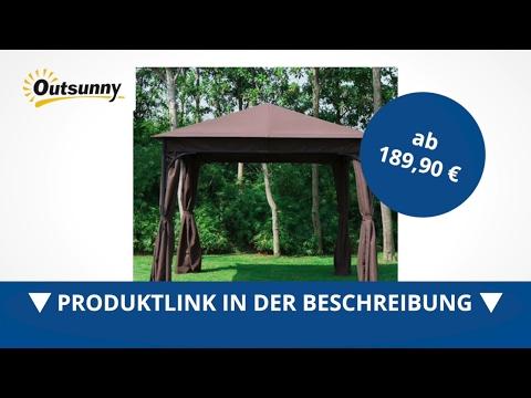 Outsunny Luxus Pavillon Partyzelt braun 3x3 m - direkt kaufen!