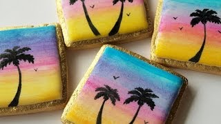 How To Decorate Hand Painted Sunset Cookies