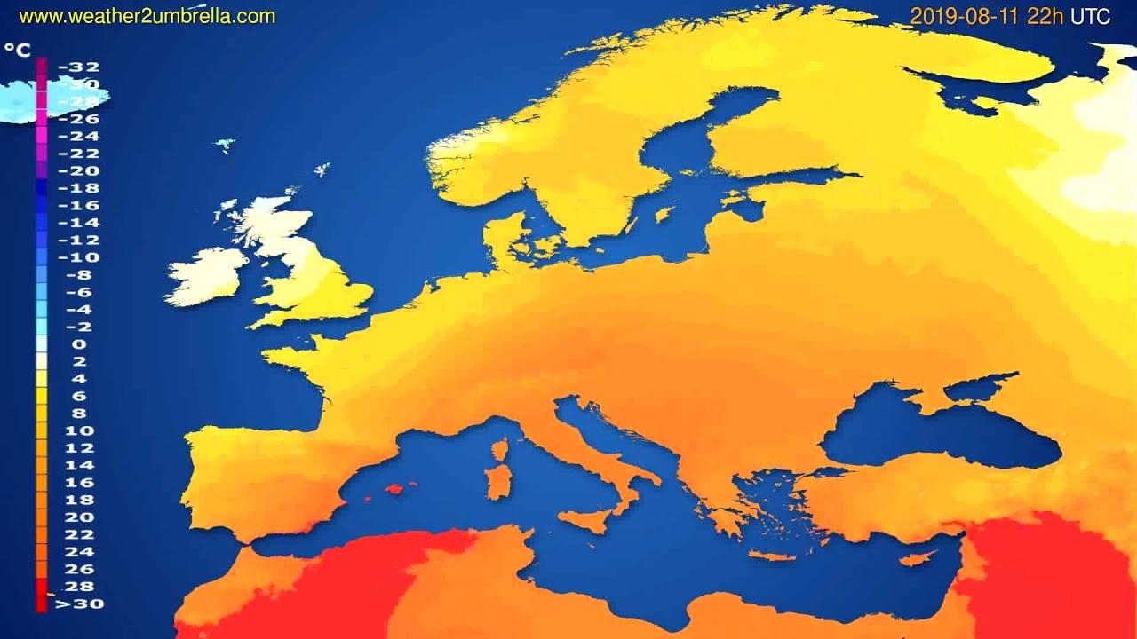 Temperature forecast Europe // modelrun: 00h UTC 2019-08-09