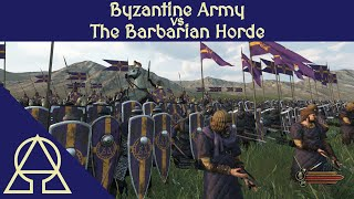 Byzantine Army vs The Barbarian Horde - Mount and Blade II Bannerlord