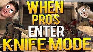 CS:GO - WHEN PROS ENTER KNIFE MODE!(1v5 ACE KNIFE,SNEAKY KILLS)